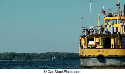 tugboat  - Tugboat at the Volga river. Russia. Samara.