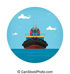 Tugboat Icon, Front View of the Push Boats, Vector...
