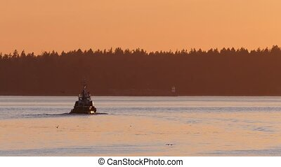 Tugboat In Amazing Evening Lighting - Boat sailing in the...