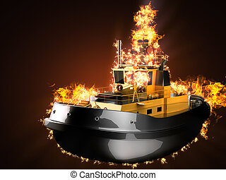 tugboat in fire