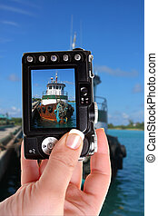 Tugboat in Nassau port snapshot