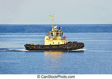 Tugboat in sea