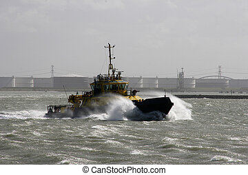 tugboat in the harbour of Rotterdam