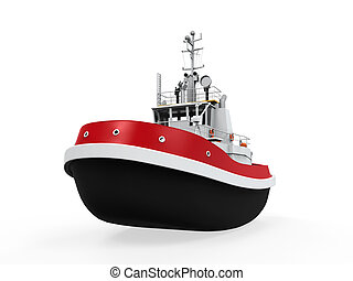 Tugboat Isolated on white background. 3D render
