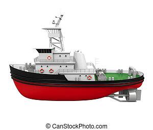Tugboat Isolated - Tugboat isolated on white background. 3D...