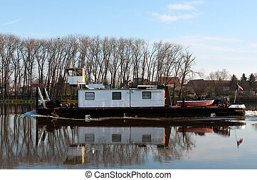 Tugboat on a River