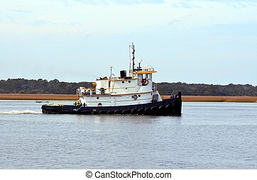 Tugboat on the river at St. Augustine, Florida.