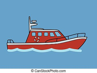 Tugboat, rescuer boat. Flat vector illustration. Isolated on blue background.
