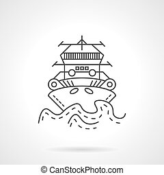 Tugboat thin line vector icon - Thin line style vector icon...
