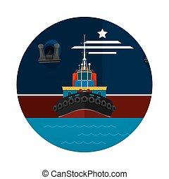 Tugboat Towing a Large Ship Icon, Front View of the Push...