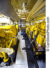 Tugboat\'s Engine Room - The engine room of a tugboat, with...