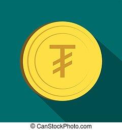 Tugrik icon, flat style