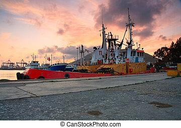 Tugs in port of Piraeus, Athens.