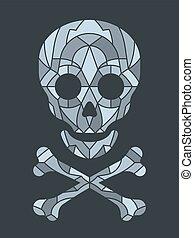 tuile mosaïque, crâne, vecteur, illustration