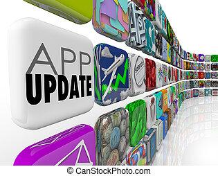 tuiles, amendement, caractéristiques, programmes, app, pièce, applications, updates, nouveau, 3d, logiciel