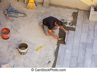 tuiles, céramique, ouvrier, installation, plancher