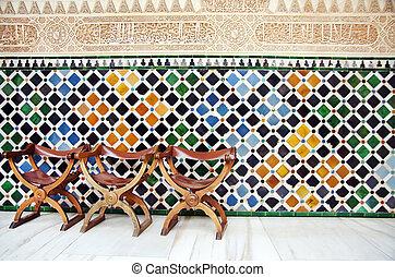 tuiles, chaises, alhambra, grenade, mur, espagne