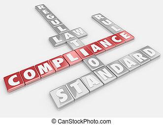 tuiles, conformité, mot, règles, directives, règlements, suivre, lois