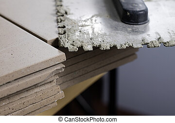tuiles, coupure, plancher, pose, stacked., tiles., maçonnerie, tapis
