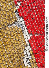 tuiles, entiers, cassé, cadre, jaune, verre, toqué, rouges
