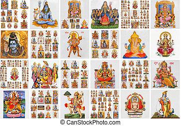 tuiles, icônes, affiche, céramique, collection, hindou, religieux