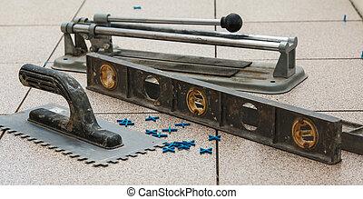 tuiles, installation, plancher