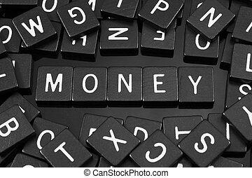 """tuiles,  """"money"""", mot, noir, lettre, orthographe"""
