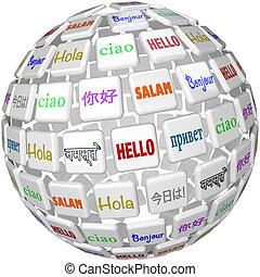 tuiles, mot, global, langues, sphère, cultures, bonjour