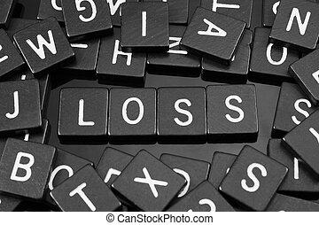 "tuiles, mot, noir, lettre, orthographe,  ""loss"""