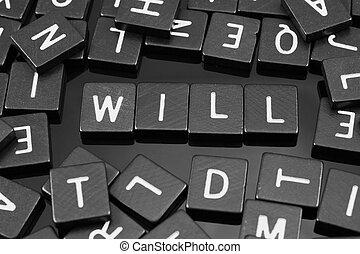 """tuiles, mot, noir, lettre, orthographe,  """"will"""""""