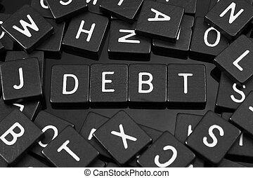 """tuiles, mot, noir, lettre, orthographe,  """"debt"""""""