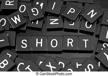 """tuiles, mot, noir,  """"short"""", lettre, orthographe"""