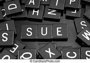 """tuiles, mot,  """"sue"""", noir, lettre, orthographe"""