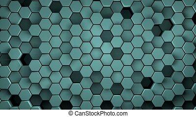 tuiles mur, modèle, rendre, cyan, hexagonal, animation, en ...