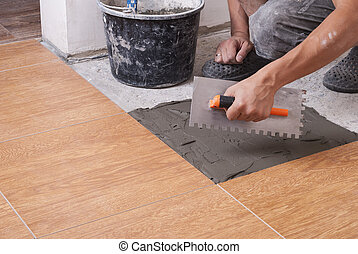 tuiles, pose, plancher