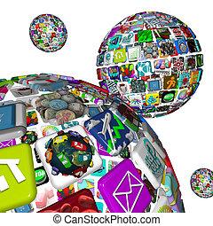 tuiles, sphères, apps, -, application, plusieurs, galaxie