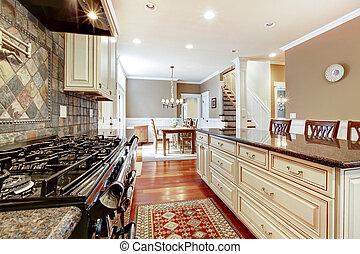 tuiles, stove., grand, luxe, blanc, pierre, cuisine