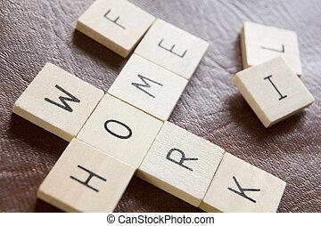 tuiles, travail, mots croisés, bois, moderne, vie, pressions...