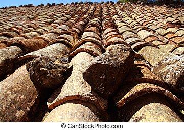 tuiles, vieux style, toit, argile, arabe, vieilli, espagne