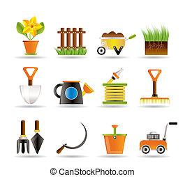 tuin, en, het tuinieren hulpmiddelen, iconen