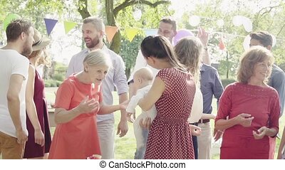 tuin, gezin, buiten, backyard., feestje, of, viering