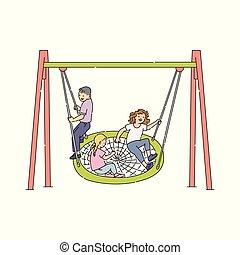 tuin, ontspanning, figuur, thuis, achterplaats, mensen, vrije tijd, stok, pictogram, speelplaats, pictogram, kinderen, park, activiteit