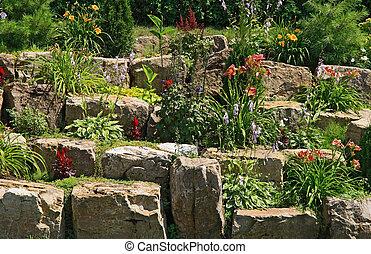 tuin, op, stenen