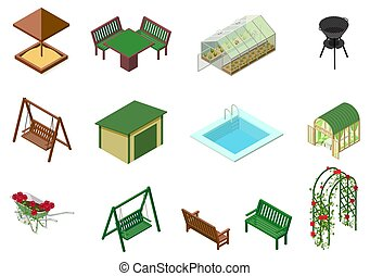 tuin, sandbox, barbecue, bankje, illustration., pool, stoel,...