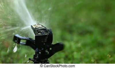 tuin, sprinkler., selectief, focus.