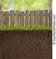 tuin, terrein, met, houten hek