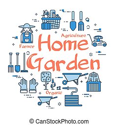 tuin, thuis, concept, -, blauwe , spandoek, lineair, vector