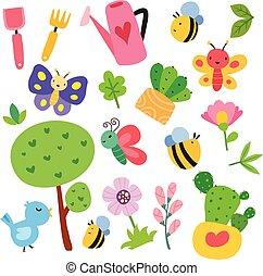 tuin, vector, verzameling, ontwerp