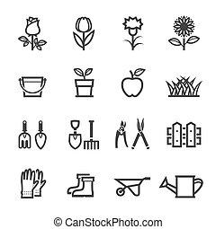 tuinieren, bloem, gereedschap, iconen
