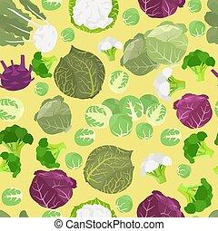 tuinieren, heilzaam, eigenschappen, plat, pattern., seamless, het boert., stijl, ontwerp, kool